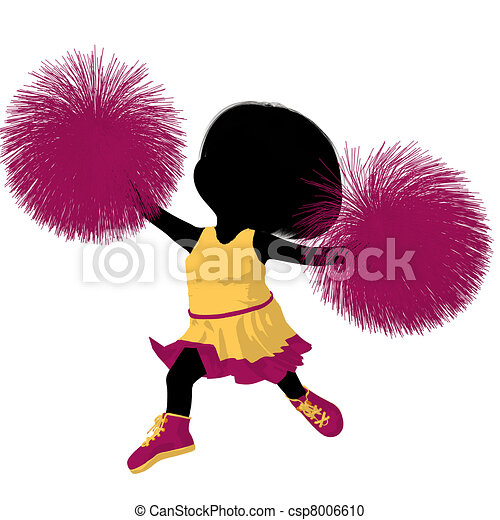 girl, peu, silhouette, acclamation, illustration - csp8006610