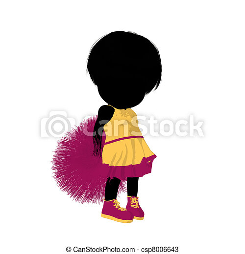 girl, peu, silhouette, acclamation, illustration - csp8006643