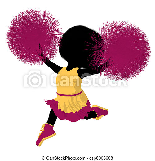 girl, peu, silhouette, acclamation, illustration - csp8006608