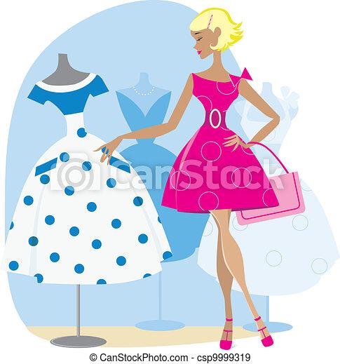 Girl picking a retro dress - csp9999319