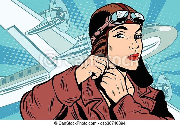 girl pilot prepares for departure - csp36740894