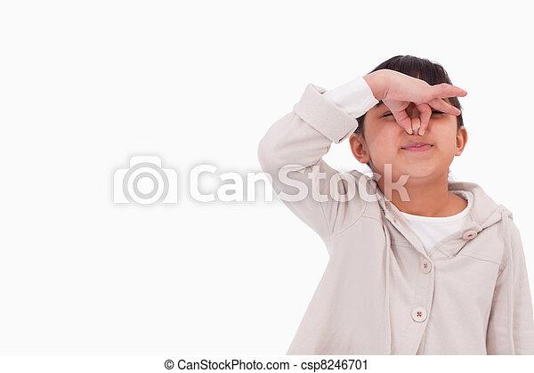 Girl pinching her nose - csp8246701
