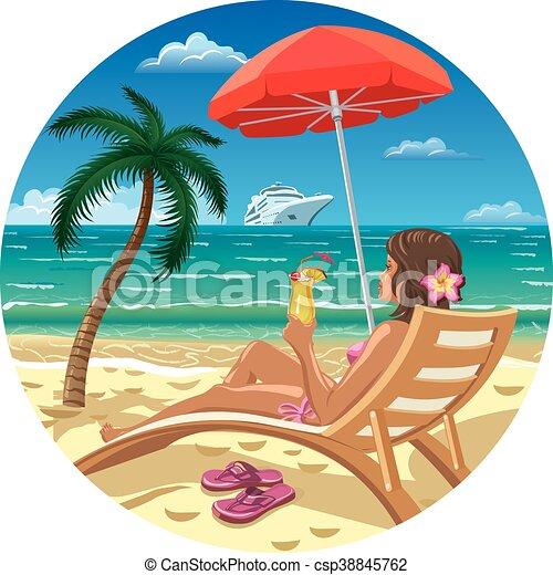 girl, plage - csp38845762
