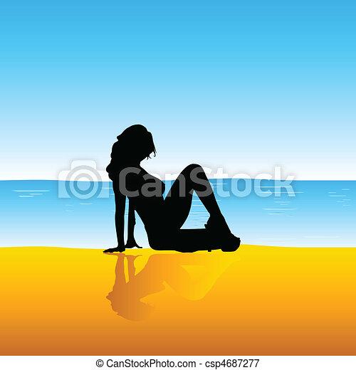 girl, plage, illustration, sexy - csp4687277