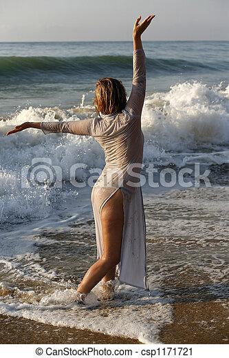 girl, plage - csp1171721