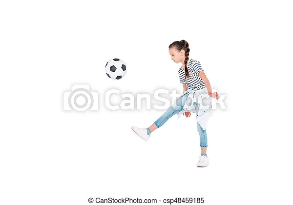 Girl play with football ball - csp48459185