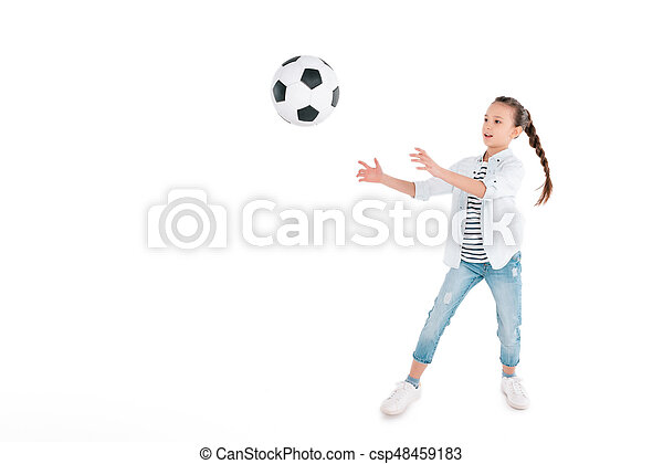 Girl play with soccer ball - csp48459183