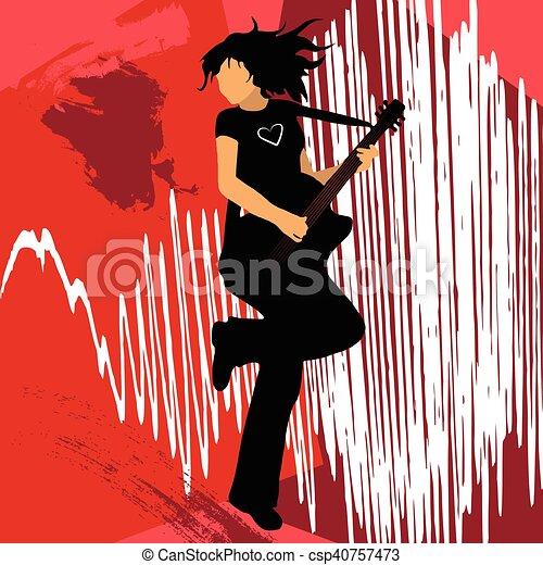 Girl Playing Bass Guitar Vector