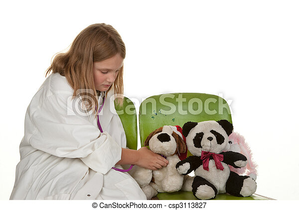 girl playing doctor with her toys - csp3113827