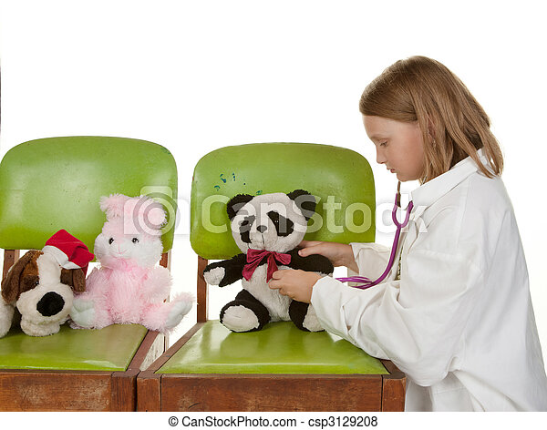 girl playing doctor with her toys - csp3129208