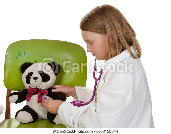 girl playing doctor with her toys - csp3158644