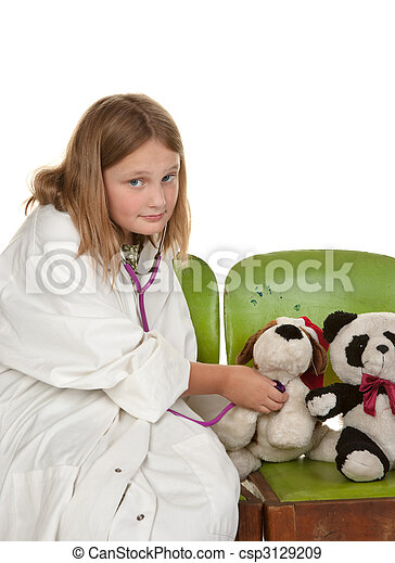 girl playing doctor with her toys - csp3129209