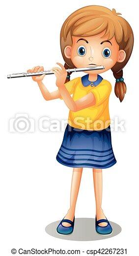 Girl playing flute alone illustration.