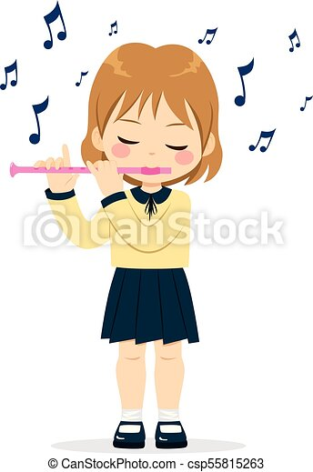 Girl playing flute. Young cute little girl playing flute ...
