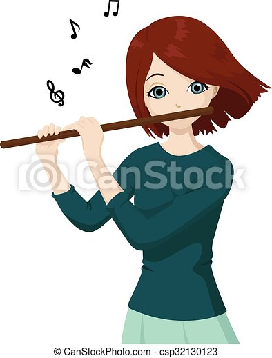 Girl playing flute. Vector illustration of a beautiful ...