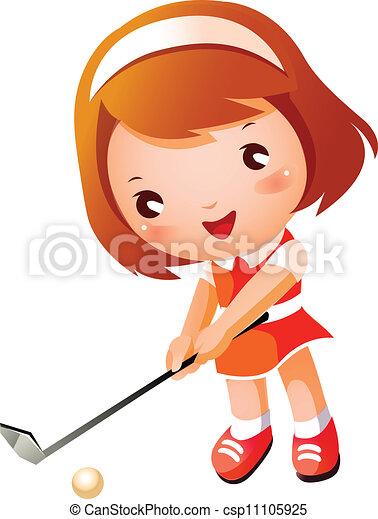 Girl playing Golf - csp11105925