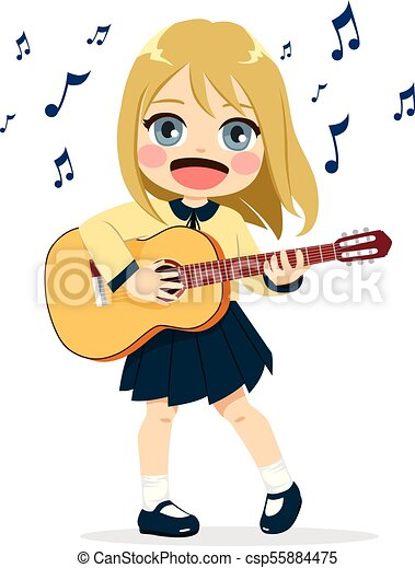Rock Star Girl Playing Guitar Stock Vector - Illustration ...  Cartoon Girl Guitarist