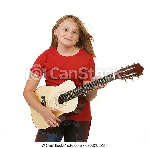 girl playing guitar on white - csp3288227