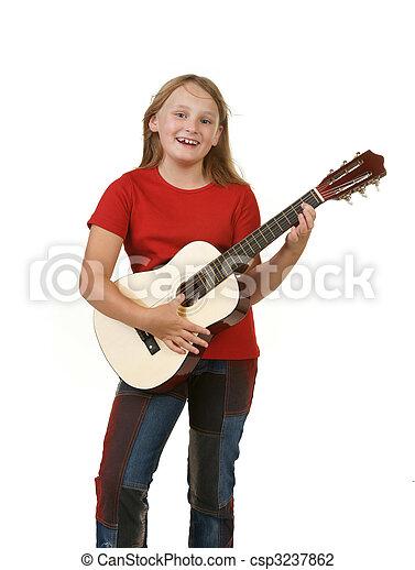 girl playing guitar on white - csp3237862