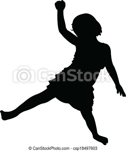 girl playing, silhouette vector - csp18497603