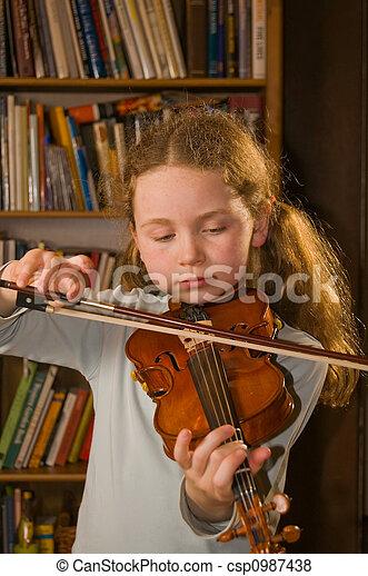 girl playing violin - csp0987438
