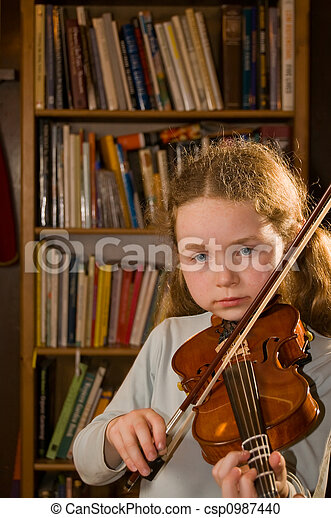 girl playing violin - csp0987440