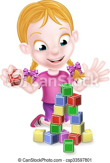 Girl Playing With Building Blocks Cartoon Girl Playing With Toy