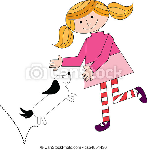 girl playing with dog vector - csp4854436
