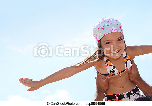 Girl playing with her dad - csp8894866