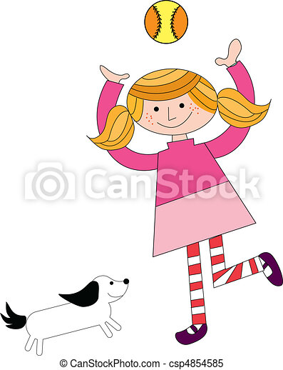 girl playing with pet and ball - csp4854585