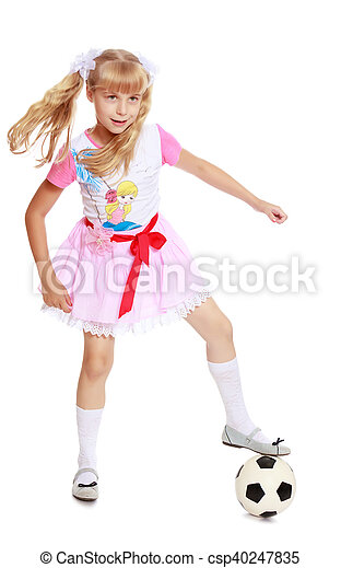 a6da273dc Girl playing with soccer ball. Enthusiastic little blonde girl in a ...