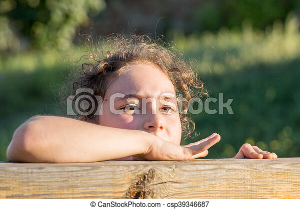 girl, portrait, female, beautiful, child, white, childhood - csp39346687