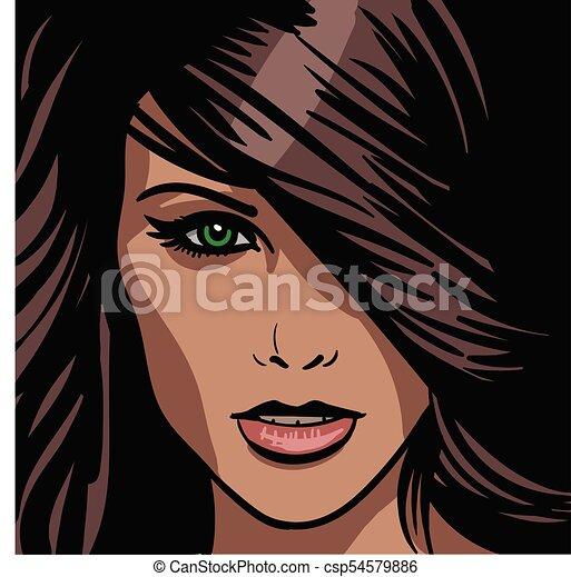 Girl Portrait Illustration Girl Portrait Green Eyed Brown
