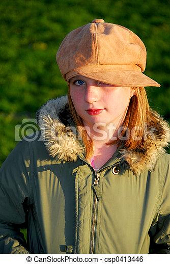 Girl portrait outside - csp0413446
