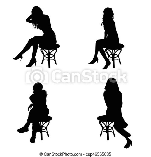 girl pose silhouette sitting on chair in black color illustration