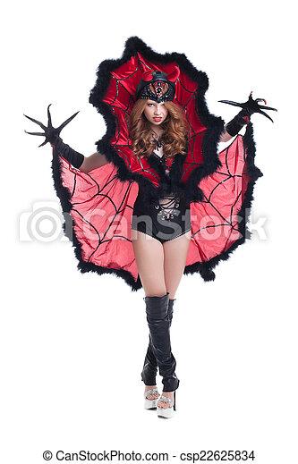 Duivel Kostuum Halloween.Image Of Girl Posing In Devil Costume For Halloween Canstock