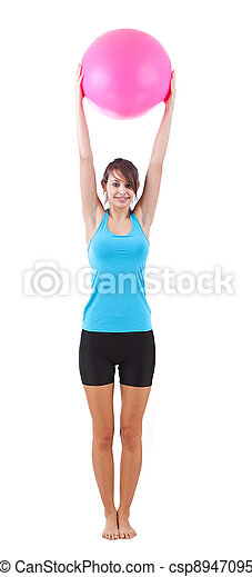 girl posing with fitness ball - csp8947095