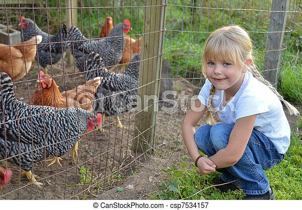 girl, poulet - csp7534157