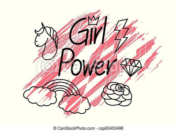 Girl power, with grunge background - csp65453498