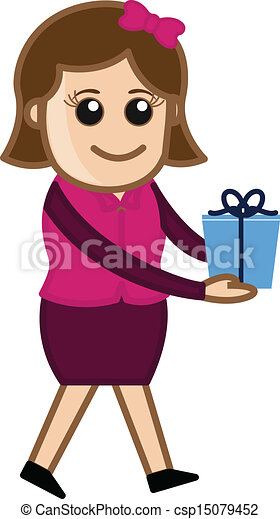 Girl Presenting A Gift Box Drawing Art Of Cartoon Young Pretty Girl