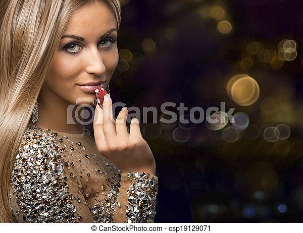 girl, puces casino, boleh, fond - csp19129071