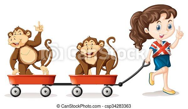 Girl pulling monkeys on the carts - csp34283363