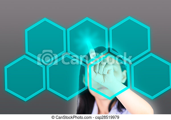 Girl pushing button with technology background - csp28519979