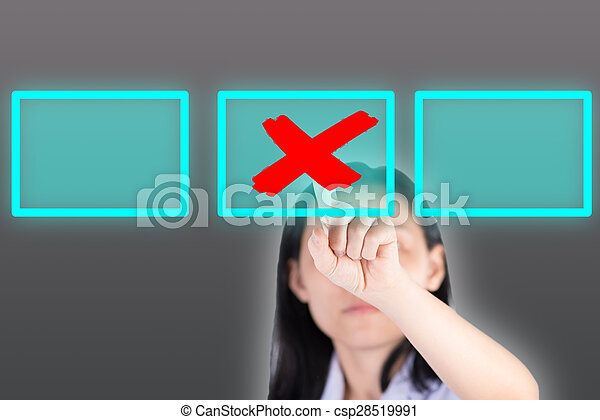 Girl pushing cross symbol button with technology background - csp28519991