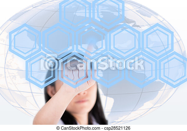 Girl pushing high technology button with computer screen - csp28521126