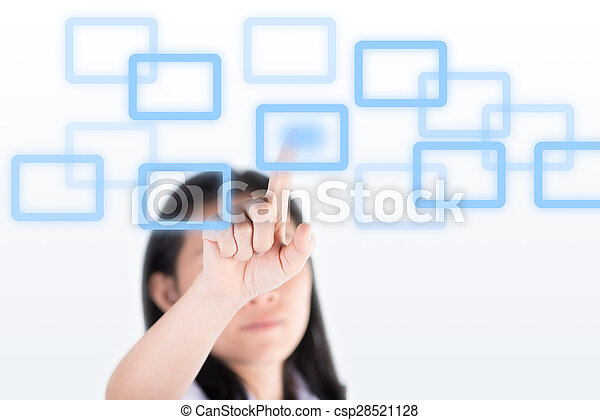 Girl pushing high technology button with computer screen - csp28521128
