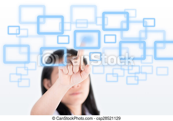 Girl pushing high technology button with computer screen - csp28521129