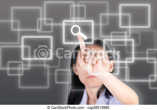 Girl pushing magnifying glass button with technology background - csp28519985