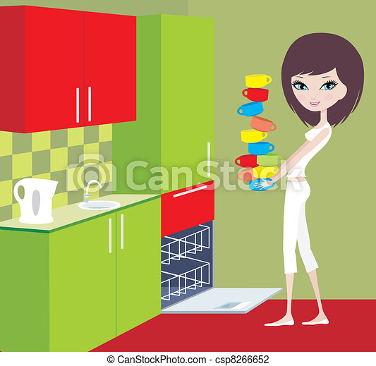 Girl puts cups in the dishwasher - csp8266652
