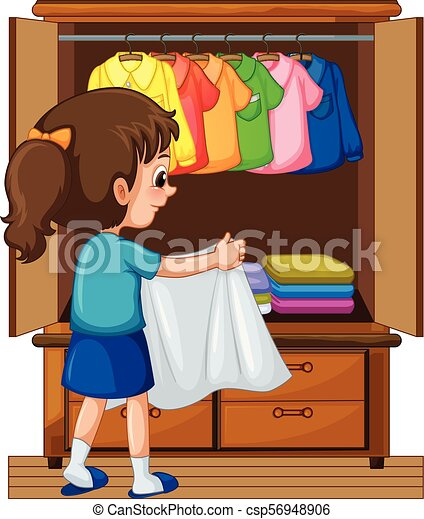 Girl putting away clothes in closet illustration.
